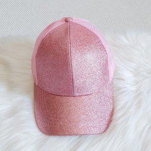 Pink Glitter C.C Ponytail Messy Bun Cap